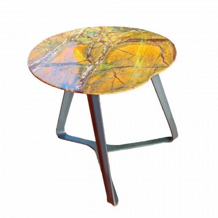 Table basse faite à la main en marbre et acier Made in Italy - Prince