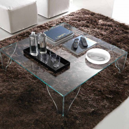 Table basse en cristal transparent extra-clair Made in Italy - Lithium
