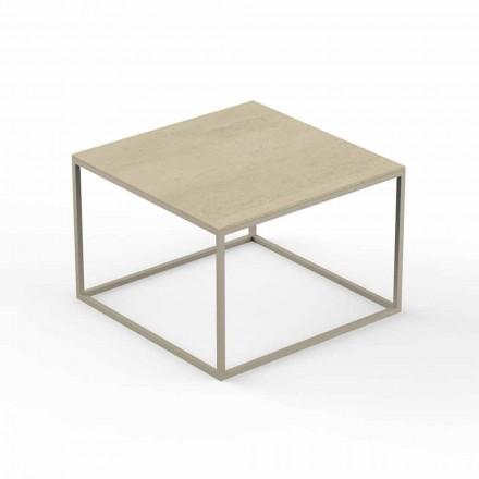 Table basse de jardin design, plateau effet marbre carré - Suave par Vondom