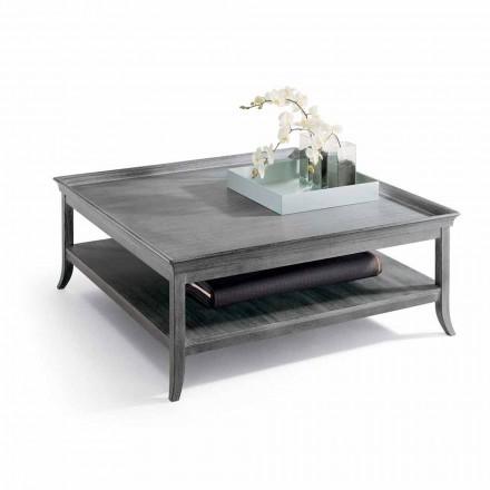 Table basse de salon en bois laqué en argent, L.130xP.130 cm, Berit