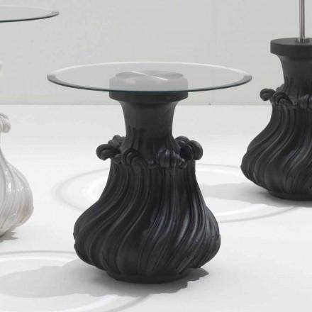 Table basse de salon en bois massif et cristal diamètre 60cm, Margo