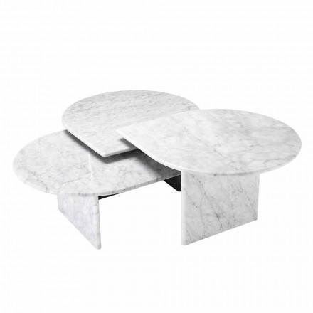 Table basse en marbre blanc de Carrare format 3 pièces - Marsala