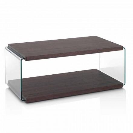 Table basse en noyer Mdf et verre transparent en 2 tailles - Mindie