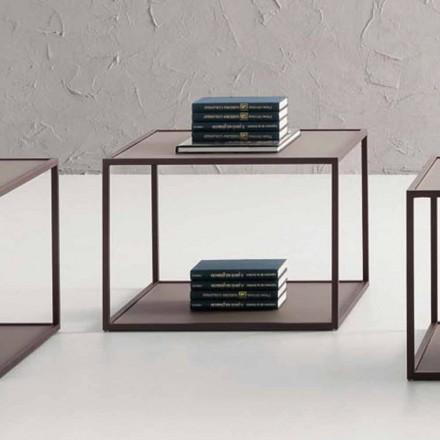 Table basse en métal avec plateau en cristal Made in Italy - Fermio