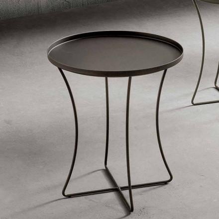 Table basse en métal avec plateau à conteneurs Made in Italy - Numbo