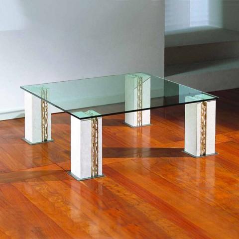 Table Basse De Design En Pierre Naturelle De Vicenza Et Cristal Milos
