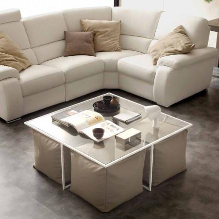 Table basse de salon en verre Lula, fournie avec 4 poufs en cuir écologique
