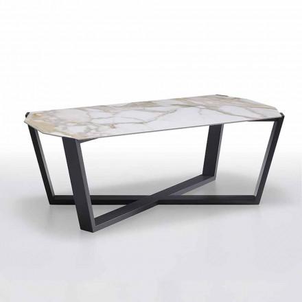 Table basse moderne en grès et bois de hêtre Made in Italy - Titanic