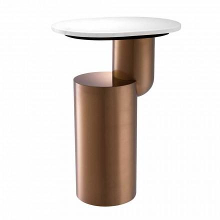 Table basse moderne en marbre blanc avec base au fini cuivre - Cosenza