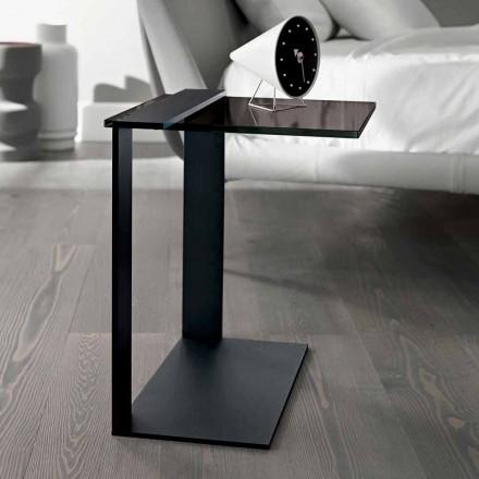 Table Basse Moderne en Métal et Verre Fumé ou Transparent Fabriquée en Italie - Teilor