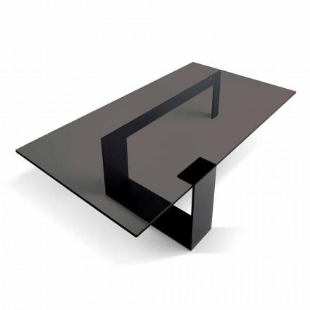 Table basse moderne avec plateau en verre fumé et base en métal Made in Italy - Scoby