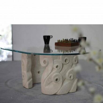 Table basse ovale en cristal et pierre naturelle de Vicenza Lindos