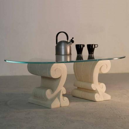 Table basse ovale en pierre naturelle de Vicenza et cristal Aracne-S