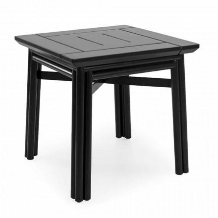 Table basse d'extérieur en bois naturel ou noir, 2 tailles - Suzana