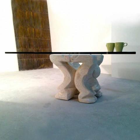 Table Basse Carree De Design En Pierre Naturelle De Vicenza Medusa S