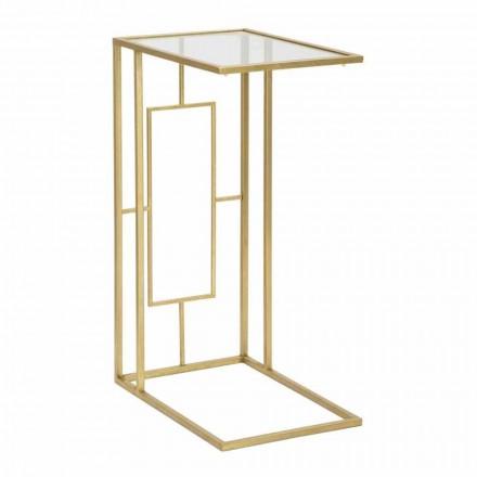 Table basse rectangulaire en fer et verre moderne - Albertino