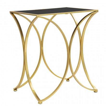 Table de salon rectangulaire moderne en fer et miroir - Amice