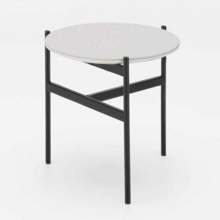 Table basse ronde en céramique et métal au design moderne - Gaduci