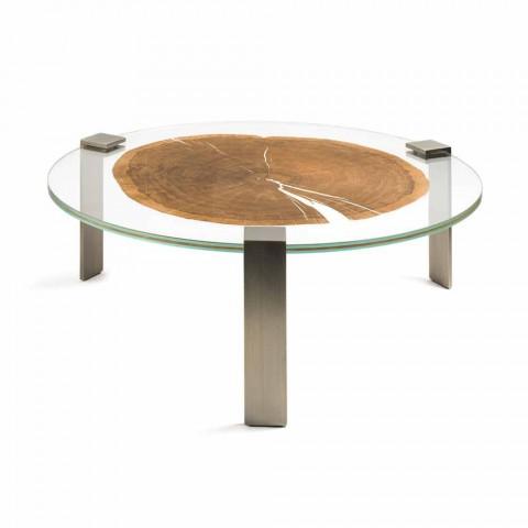 Table Basse De Salon Ronde Avec Plateau En Verre Et Bois Buck