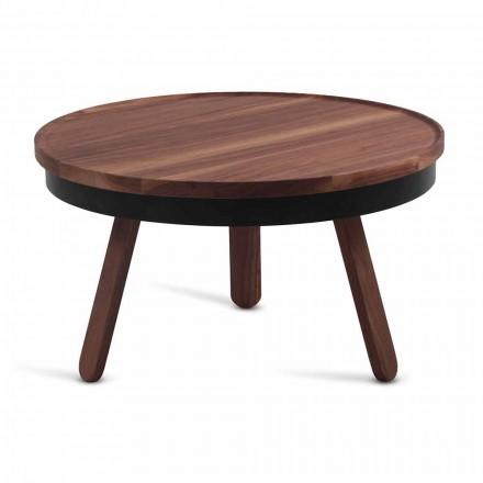 Table basse design ronde en bois massif et métal - Salerno