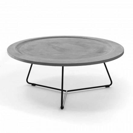 Table basse ronde en béton et métal noir Made in Italy - Evolve
