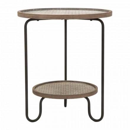 Table basse ronde en fer et MDF au design moderne - Luther