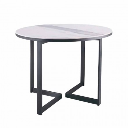 Table basse ronde en grès et métal moderne Made in Italy - Albert