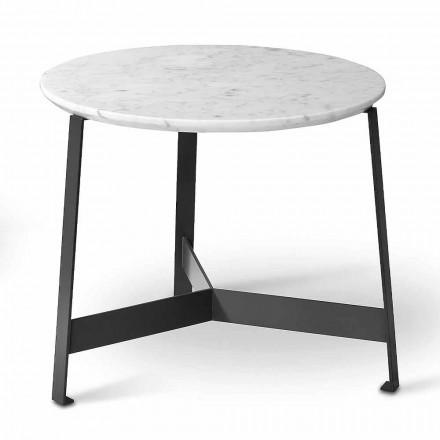 Table basse ronde en marbre avec base en métal Made in Italy - Juliana