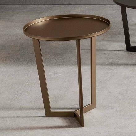 Table basse ronde de luxe en métal peint Made in Italy - Mina