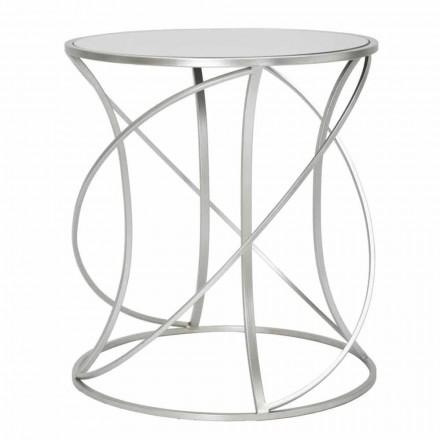 Table basse ronde en fer et miroir de style moderne - Cymone