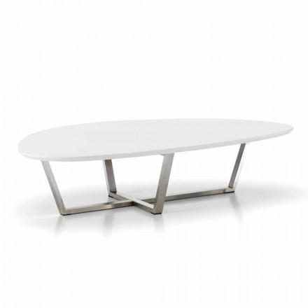 Table de salon de forme moderne avec plateau en MDF blanc - Prêt