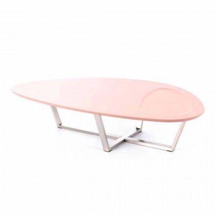 Table de salon de forme moderne en MDF et métal chromé - Pimpa