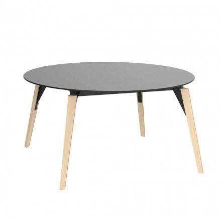 Table basse ronde en bois et plateau en Hpl en 2 tailles - Bois Faz - Vondom