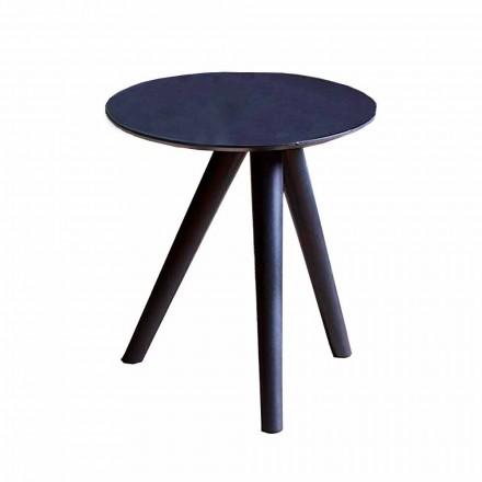 Table basse ronde en bois laqué noir gris Made in Italy - Stuttgart