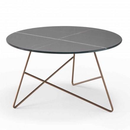 Table basse ronde en métal avec plateau en verre effet marbre - Magali