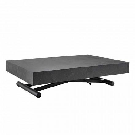 Table basse transformable avec plateau en bois finition ardoise - Ademo