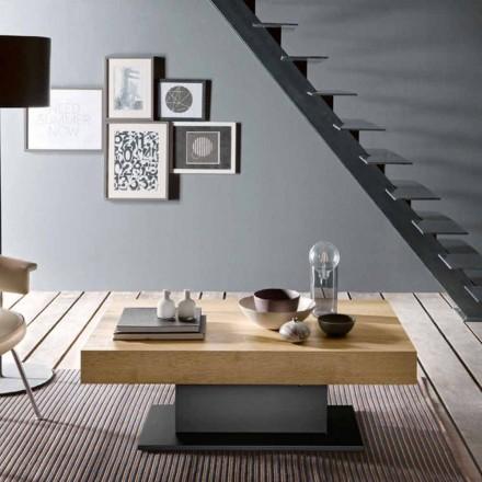 Table basse transformable en bois et acier fabriquée en Italie - Demetro