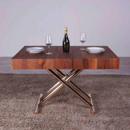 Table basse transformable en bois et métal fabriquée en Italie - Patroclus