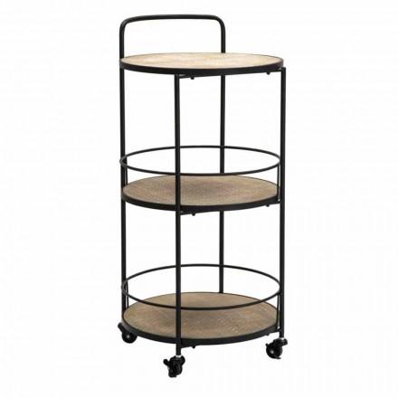 Table basse de design moderne en fer et MDF avec roues et 3 étagères - Lennox