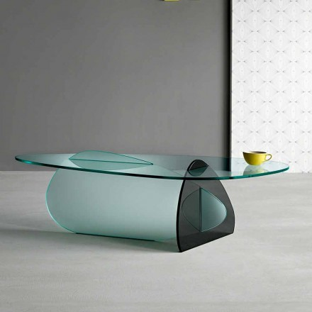 Table Basse Design en Verre Transparent, Fumé et Gravé Fabriqué en Italie - Tac Tac