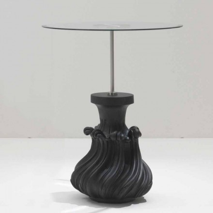 Table basse en cristal/bois massif noir sablé, diamètre 60cm, Margo