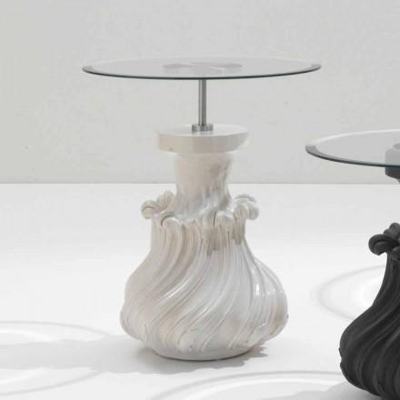 Table basse en bois massif et cristal blanc, diamètre 60cm, Margo