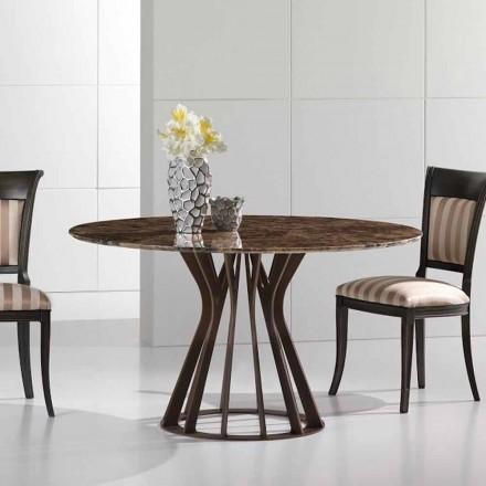 Table à manger en marbre emperador dark, ronde, base bronzée Cesare