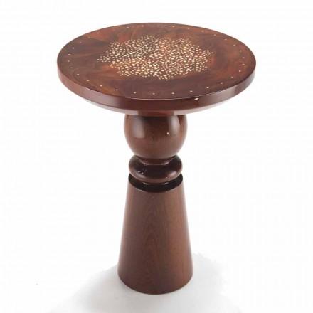 Table basse design dessus avec décoration en laiton diam. 45cm, Sanni