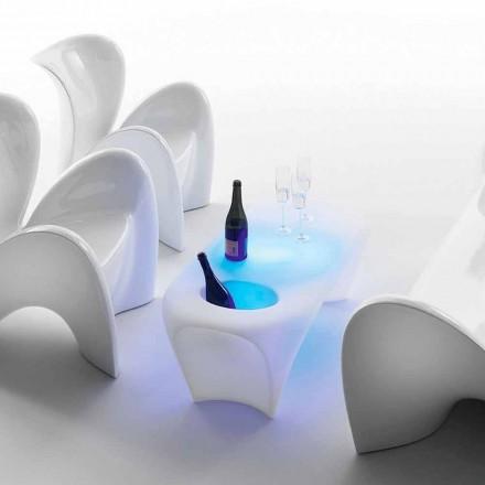 Table basse lumineuse avec bouteille de vin mousseux, design extérieur ou intérieur - Lily par Myyour