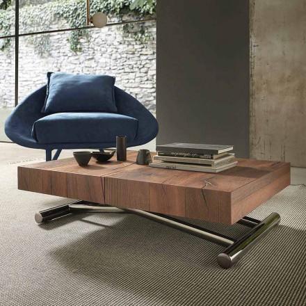 Table basse transformable moderne en bois et métal, fabriquée en Italie - Spirit