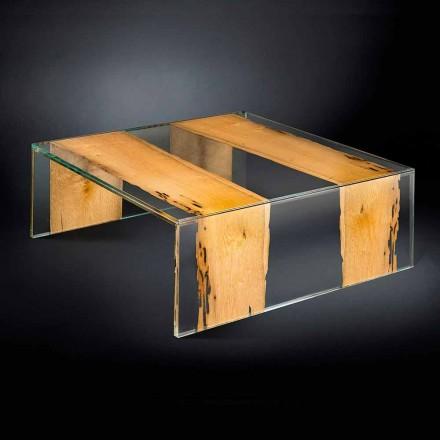 Table basse carrée, verre et bois, Venezia