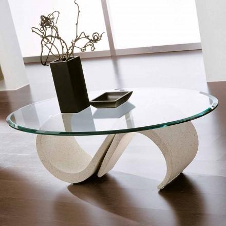 Table basse ovale en verre biseauté et marbre synthétique Made in Italy - Barbera