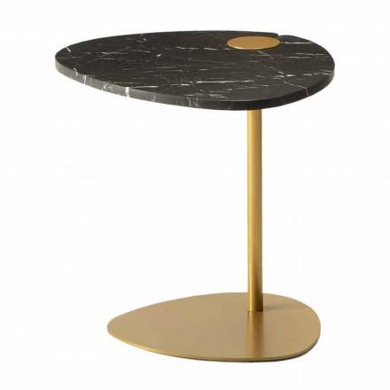 Table basse de salon en métal et marbre Marquinia, design de luxe - Yassine