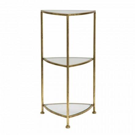 Table de téléphone triangulaire moderne à 3 étagères en fer et verre - Kora